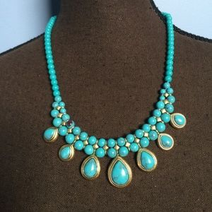 Chaps Faux Turquoise Statement Necklace